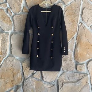 Miss Avenue Black and Gold Button front dress
